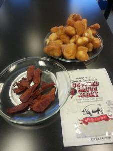 bacon jerky and donut holes