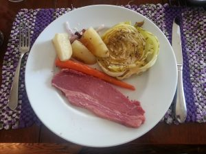 corned beef with roasted cabbage